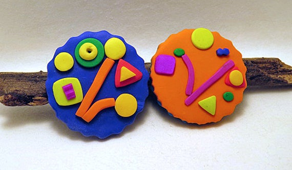 Brooches Round Crazy Clocks Brooches Brightly Coloured Etsy