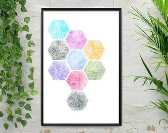 Honeycomb, Hexagons, Hexagon art, Honeycomb art, geometric shapes, watercolor, hexagon Pattern, Bee Art, Bee Print