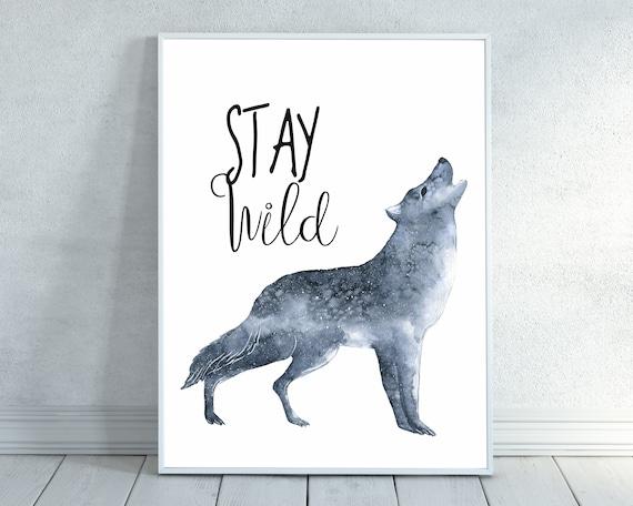 Soggiorno Wild, regalo del bambino, lupo, lupo dell\'acquerello, bosco  vivaio, lupo Nursery, stampa lupo, vivaio arte, bambini camera, decorazione  ...