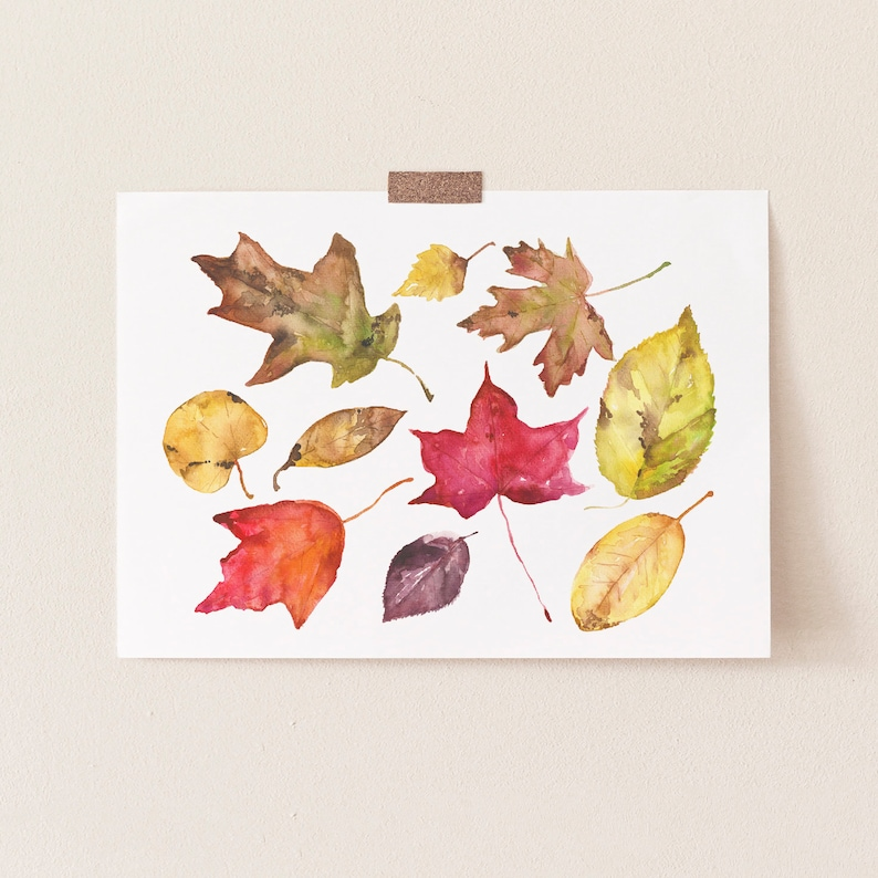Leaf Print Colorful Leaves Autumn Welcome Fall Autumn Decor Autumn Leaves Fall Decor Watercolor Fall Leaves Fall Painting