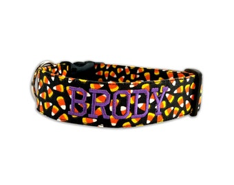 a2de4b94 Halloween Dog Collar, Embroidered Dog Collar, Personalized Dog Collar,  Candy Corn Dog Collar, Collar, Dog Collar, Halloween collar
