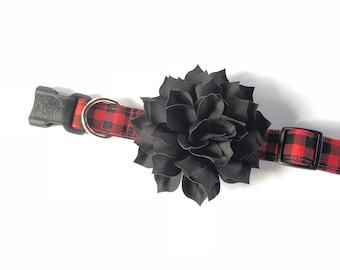Buffalo Plaid Dog Collar, Personalized Collar, Embroidered Collar, Christmas Collar, Dog Collar, Plaid Dog Collar, Christmas Plaid Dog