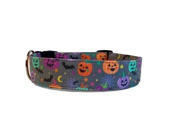 Halloween Dog Collar, Embroidered Dog Collar, Personalized Dog Collar, Pumpkin Dog Collar, Collar, fall dog collar, Engraved Buckle