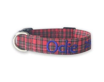 Dog Collar, Embroidered Dog Collar, Personalized Dog Collar, plaid Dog Collar, Tartan Plaid Collar, Personalized Collar