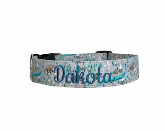 Mountain Dog Collar, Bear Dog Collar, Buffalo Dog Collar, Embroidered Dog Collar, Engraved Dog Collar, Engraved Buckle, Personalized