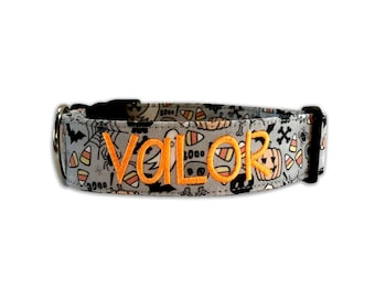 Dog Collar, Embroidered Dog Collar, Personalized Dog Collar, Halloween Collar, collar, Halloween Dog Collar, Engraved Collar
