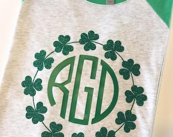 St. Patrick's Day shirt, St Patricks Day Shirt, Saint pattys day shirt, St. Patrick's Day glitter shirt, Shamrock Monogram Shirt