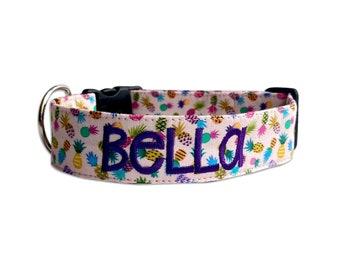 Pineapple Dog Collar, Embroidered Dog Collar, Personalized Dog Collar, Summer Dog Collar, Engraved Dog Collar, Engraved Buckle, Dog Collar
