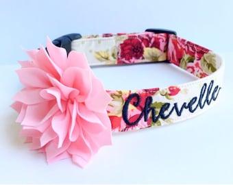 Floral Dog Collar, Embroidered Dog Collar, Personalized Dog Collar, Dog Collar Personalize, Collar, Rose Collar, Flower dog collar