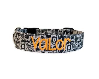 Monsters Dog Collar, Halloween Dog Collar, Embroidered dog Collar, Engraved Dog Collar, Dog Collars, Personalized Dog collars, Custom Collar