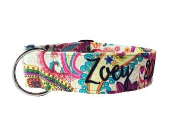 Paisley Dog Collar, Embroidered Dog Collar, Personalized Dog Collar, Flower Dog Collar, Rose Collar, Personalized Collar, Girl Collar