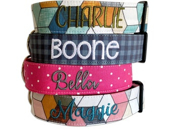 Dog Collar, Embroidered Dog Collar, Personalized Dog Collar, Geometric Dog Collar, Collar, Polka Dot Collar, Engraved Collar, Dog Collars