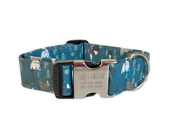 Engraved Buckle Dog Collar, Engraved Dog Collar, Fall Dog Collar, Mountain Dog Collar, Winter Dog Collar, Embroidered Dog Collar