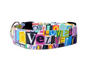 Valentines Dog Collar, Embroidered Dog Collar, Personalized Dog Collar, Heart Dog Collar, pink dog Collar, Personalized Collar