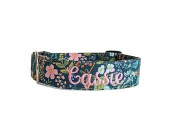Blue Floral Dog Collar, Embroidered Dog Collar, Personalized Dog Collar, Dog Collar, Dog Collar, Collar, Blue & Pink Dog Collar