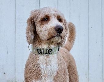 Fall Dog Collar, autumn dog collar, Fall Embroidered Dog Collar, Personalized Dog Collar, Squirrel Dog Collar, green dog collar,dog collars