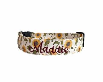 Sunflower Dog Collar, Embroidered Dog Collar, Personalized Dog Collar, Floral Dog Collar, Collar, fallll dog collar, Engraved Buckle
