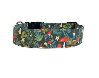 Gnome Dog Collar, Embroidered Dog Collar, Personalized Dog Collar, Engraved Dog Collar, Dog Collar, Fall Dog Collar, Green Dog Collar