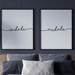 Inhale Exhale Print, Wall Art, Inhale Exhale, Pilates Gifts, Set of 2 Prints, Relaxation Print, Inhale Exhale Signs, Yoga Poster