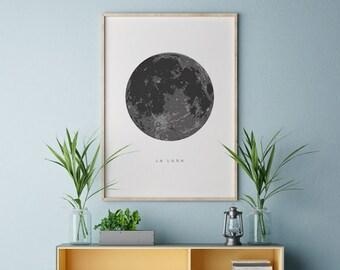 La Luna Print, Moon Poster, La Luna Wall Art, La Luna, Full Moon Print, Moon Art Print, La Luna Printable, Full Moon Printable