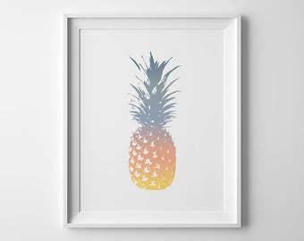 Tropical Wall Art, Pineapple Decor, Sunset Print, Printable Pineapple, Tropical Print, Summer Wall Art, Pineapple Digital Art