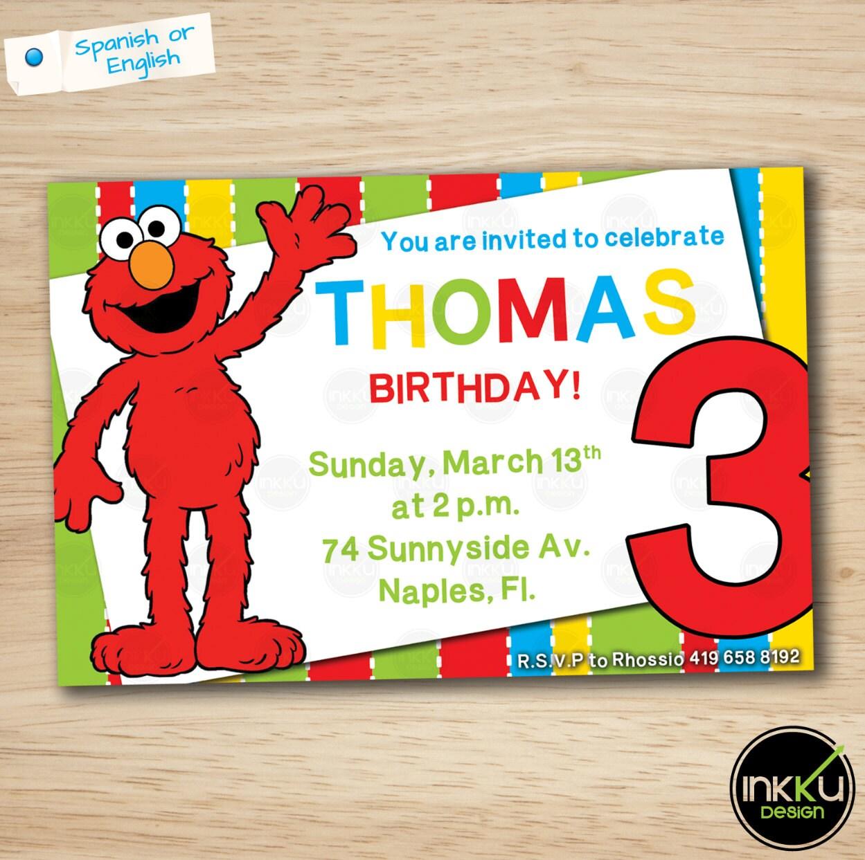 Elmo Invite Elmo invitation Elmo Birthday Party Printable   Etsy