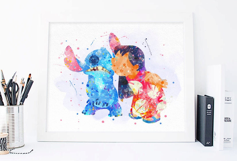 STITCH Blue Quote Ohana Vertical Lilo and Stitch Disney Watercolor illustrations Art Print Giclee Wall Decor Art Home Decor Wall Hanging