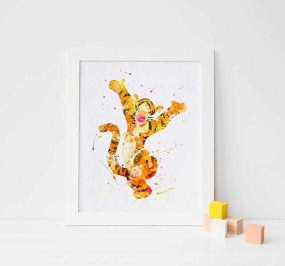 Disney Tigger Aquarell Winnie The Pooh Kinderzimmer Winnie pooh Tigger  Geburtstag Winnie Puuh Winnie pooh Druck der pooh Wandbilder