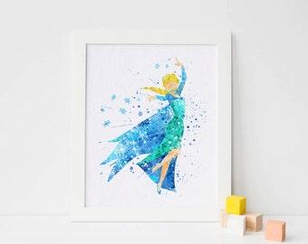 Frozen Elsa Print, Frozen Disney Frozen wall decor - Frozen Watercolor, Frozen Art Print, Frozen Wall decor, Disney Princess Poster