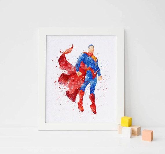 Superman print, watercolor super man Poster superhero ...