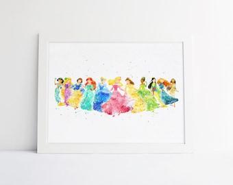 Disney Princess Collection Disney Watercolor Nursery Princess Printable  Princess Gifts Bedroom Decor Disney Wall Art Baby