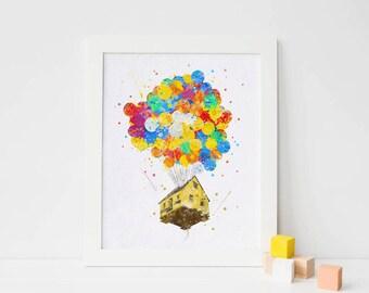 Pixar Up - Balloon House -  Up Pixar - Disney Art, Printable poster, watercolor nursery art, printable nursery decor, pixar poster pixar art
