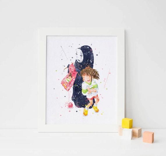 Spirited Away Poster No Face Studio Ghibli Chihiro Hayao Miyazaki Spirited Away Print Watercolor Nursery Film Poster Anime Art Download By Art Quality Catch My Party
