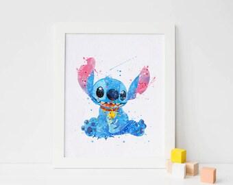 Stitch Disney Stitch Watercolor stitch Art stitch Print, disney decor, Watercolor nursery Print, ohana Poster disney art, stitch wall art