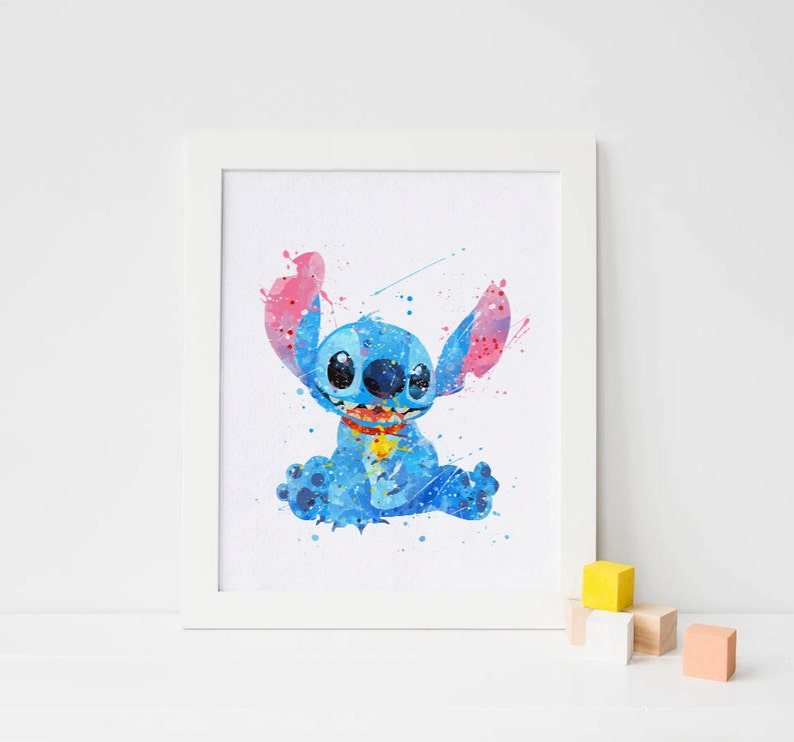 Punto punto Disney Stitch acquerello arte punto stampa  e14a266c156b