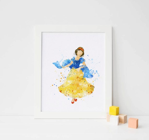 Snow White PINK Disney Princess Watercolor Nursery Art for Girl Wedding Gift