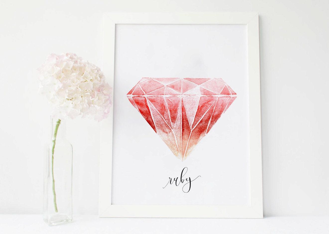 Ruby Art Birthstone Print Gemstone Print Gem Stones Gemstone Etsy
