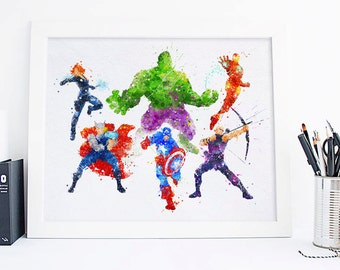 Avengers Print Avengers Watercolor Avengers Superhero Avengers wall art, avengers gift Avengers Decor Avengers Poster Baby Superhero Nursery
