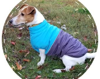 46c474f01 Warm Dog Coat - Custom made winter dog coat with side zipper - Blue and  Grey dog vest - Sporty Puffer Dog Jacket
