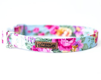 Girl Dog Collar With Flower Etsy