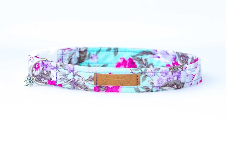 Mint Floral Dog Collar For Girls Pink Flowers Female Dog Etsy