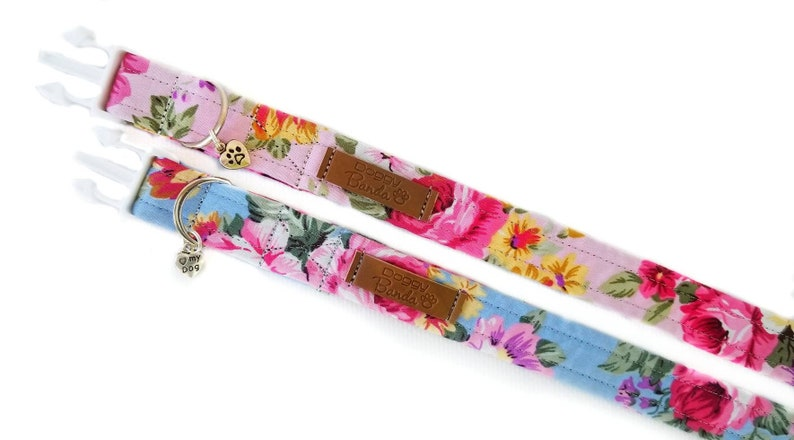 Provence dog collar with blossom roses Retro pretty dog collar female Summer girly floral collar Vintage flowers wedding trendy