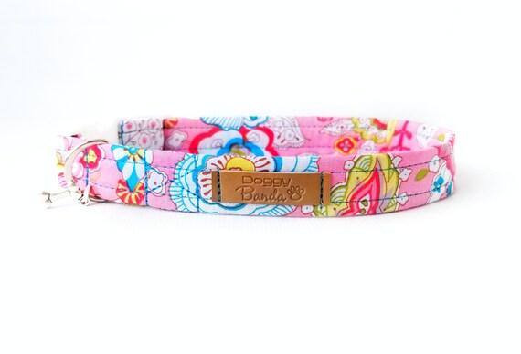 Pastel Dog Collar Pink Flower Dog Collar Girly Custom Dog Etsy