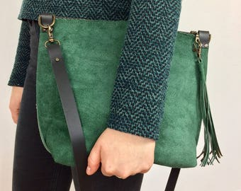 Gift-For-Sister, Leather Bag For Her, Leather Cross Body Bag, Every Day Bag, Women's Leather Messenger Bag, Green Suede Leather Handbag