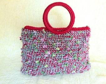 Winter crochet bag, Crochet flower bag, Bohemian bag, Bag with round handles, Everyday woman purse, Hand knit handbag, Multicolor purse