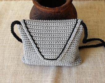 Crossbody summer bag, Gray knit bag, Crochet purse, Small crossbody bag, Crochet cord bag, Hand knit bag, Black and gray bag
