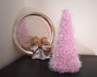 Pink Xmas tree, Christmas ornament, Pink Christmas decor, Sparkling tree, Crochet tree, Xmas table topper, Christmas gift, Holiday decor