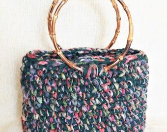 Crochet bag tote, Bohemian tote bag, Colorful handbag, Hand knit handbag, Bamboo handle tote, Green woman purse, All seasons bag