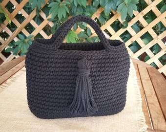 Bohemian tote, Eco friendly bag, Crochet handbag, Tassel bag, Modern minimalist bag, Everyday woman purse, Summer fall bag, Knit handbag