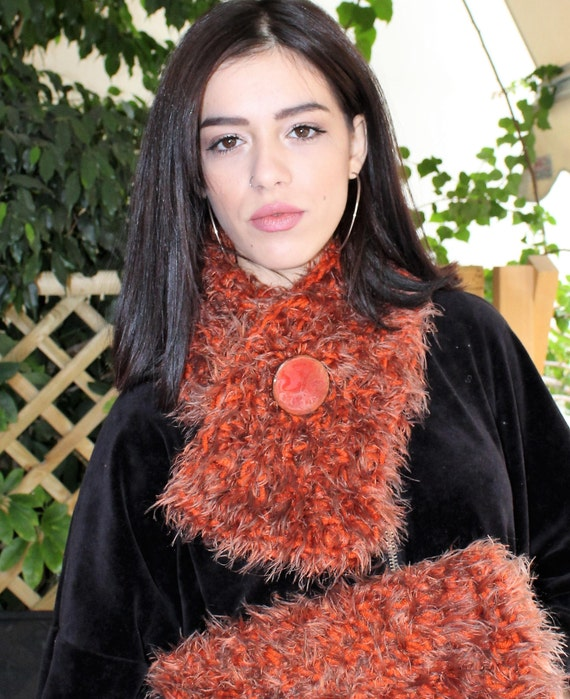Kunstfell-Schals und Wraps häkeln Schal Schal Vegan Pelz | Etsy